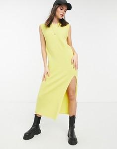 Желтое вязаное в рубчик платье макси без рукавов Lost Ink-Желтый