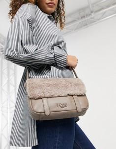 Сумка-портфель через плечо из овчины серо-коричневого цвета UGG-Коричневый цвет