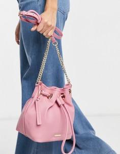 Кожаная сумка-мешок нежно-розового цвета Paul Costelloe-Розовый цвет