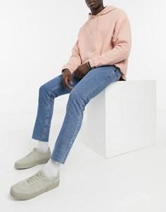 Голубые выбеленные эластичные джинсы узкого кроя с необработанными краями ASOS DESIGN-Голубой