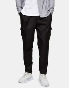 Черные суженные книзу брюки карго Topman-Черный цвет