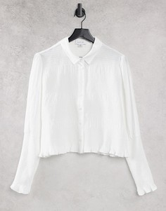 Приталенная рубашка с присборенными манжетами Lost Ink-Белый