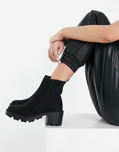Черные ботинки челси на каблуке Topshop-Черный цвет