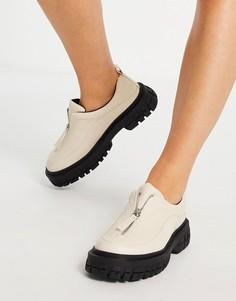 Кремово-белые туфли с молнией спереди на плоской толстой подошве ASOS DESIGN Miya-Белый