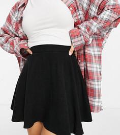 Расклешенная льняная юбка мини черного цвета в стиле 90-х ASOS DESIGN Petite-Черный цвет
