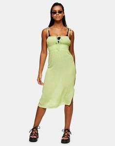 Пляжное платье миди лаймового цвета со сборками спереди Topshop-Зеленый цвет