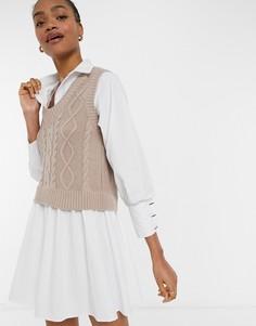 Бежевое платье-рубашка мини стрикотажной жилеткой River Island-Коричневый цвет