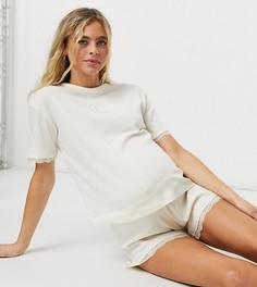 Кремовая пижама в рубчик с короткими шортами и кружевной отделкой Wednesdays Girl Maternity-Кремовый