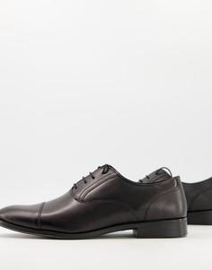 Черные кожаные оксфордские туфли со вставкой на носке ASOS DESIGN-Черный цвет