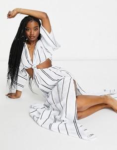 Пляжное платье макси в яркую полоску с рукавами-кимоно и большим узлом ASOS DESIGN-Многоцветный