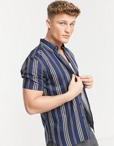 Полосатая фактурная рубашка с короткими рукавами Ted Baker-Темно-синий