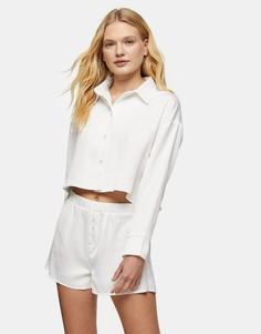 Пижама срубашкой и шортами цвета слоновой кости Topshop-Белый