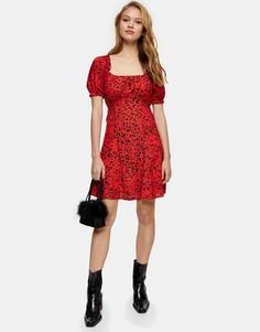Красное платье мини с присборенным лифом и леопардовым принтом Topshop-Красный