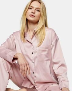 Розовая атласная пижама Topshop-Многоцветный