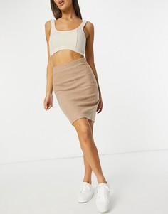 Бежевая вязаная юбка от комплекта Vila-Нейтральный