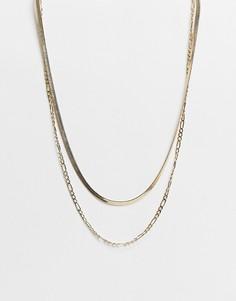 Золотистое многослойное ожерелье-цепочка Accessorize-Золотистый