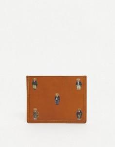 Светло-коричневая кожаная кредитница со сплошным принтом в виде медвежонка Polo Ralph Lauren-Коричневый цвет