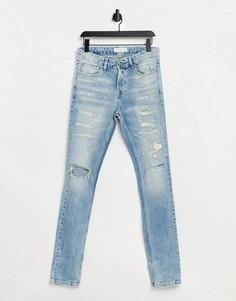 Выбеленные зауженные джинсы со рваной отделкой Topman-Голубой