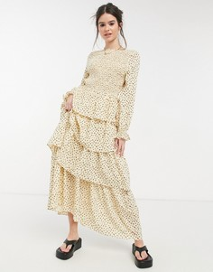 Платье макси с длинными рукавами, ярусной юбкой и присборенным лифом Lost Ink-Нейтральный