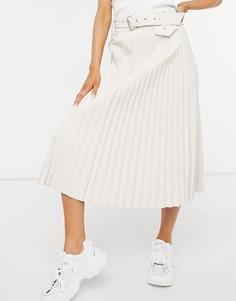 Плиссированная юбка миди кремового цвета Morgan-Белый