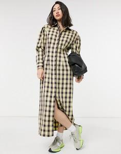 Платье-рубашка макси в клетку в винтажном стиле Lost Ink-Желтый