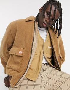 Светло-коричневая куртка-бомбер из искусственного меха ASOS Daysocial-Коричневый цвет