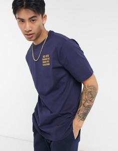Темно-синяя футболка с круглым вырезом и логотипом на груди Herschel Supply Co-Темно-синий