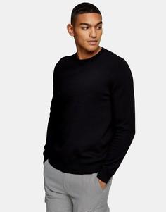Черный вязаный джемпер Topman Essential-Черный цвет
