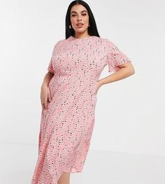 Розовое ярусное платье миди спятнистым принтом Influence Plus-Розовый цвет