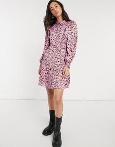 Розовое платье-рубашка мини с абстрактным принтом Vero Moda-Розовый цвет