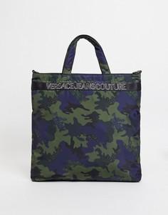Многоцветная сумка-тоут с камуфляжной расцветкой и логотипом Versace Jeans Couture-Многоцветный