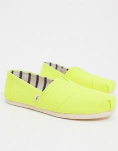 Неоново-желтые парусиновые туфли Toms-Желтый
