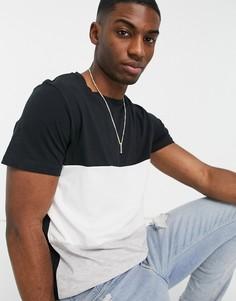 Черно-серая футболка в стиле колор блок Jack & Jones Originals-Черный цвет
