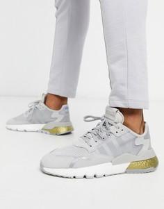 Серебристо-золотистые кроссовки adidas Originals Nite-Серебристый
