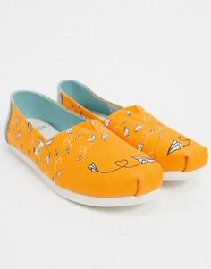 Парусиновые туфли горчичного цвета Toms-Желтый