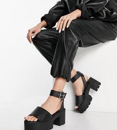 Черные босоножки на массивном каблуке для широкой стопы Truffle Collection-Черный цвет