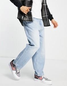 Голубые широкие джинсы свободного кроя Bershka-Голубой