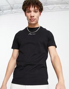 Черная футболка с логотипом Jack & Jones Premium-Черный цвет