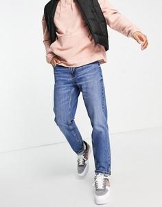 Голубые джинсы прямого кроя в винтажном стиле Bershka-Голубой