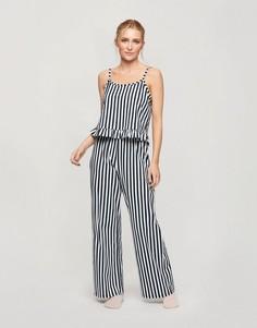 Темно-синяя пижама в полоску с брюками Miss Selfridge-Темно-синий