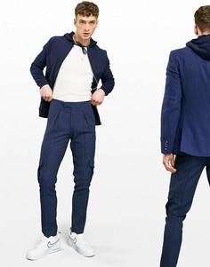 """Темно-синие строгие брюки карго облегающего кроя из ткани с добавлением шерсти и узором """"в елочку"""" ASOS DESIGN-Темно-синий"""
