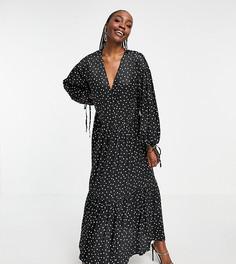 Черное атласное платье макси в белый горошек с присборенной юбкой и запахом спереди ASOS DESIGN Tall-Многоцветный
