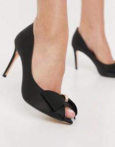Черные туфли-лодочки с открытым носом и бантиком TedBaker-Черный