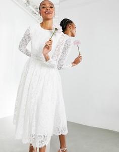 Кружевное свадебное платье миди с укороченным топом ASOS EDITION Kate-Белый