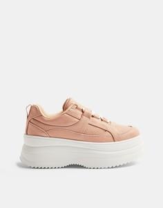 Нежно-розовые кроссовки на плоской платформе со шнуровкой Topshop-Розовый цвет
