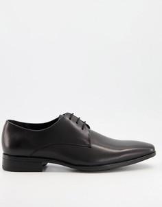 Черные кожаные туфли дерби Office Micro-Черный цвет