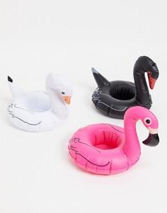 Надувные подставки для напитков в виде лебедей и фламинго Big Mouth-Многоцветный