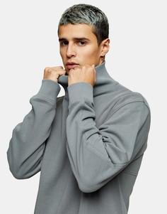 Серый выбеленный свитшот с высоким воротником Topman