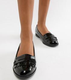 Лакированные лоферы с бахромой для широкой стопы New Look-Черный