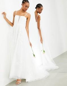Свадебное платье на тонких бретельках с очень глубоким вырезом и цветочной вышивкой ASOS EDITION Margot-Белый